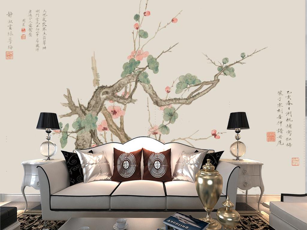 新中式手绘水墨梅花树电视背景墙