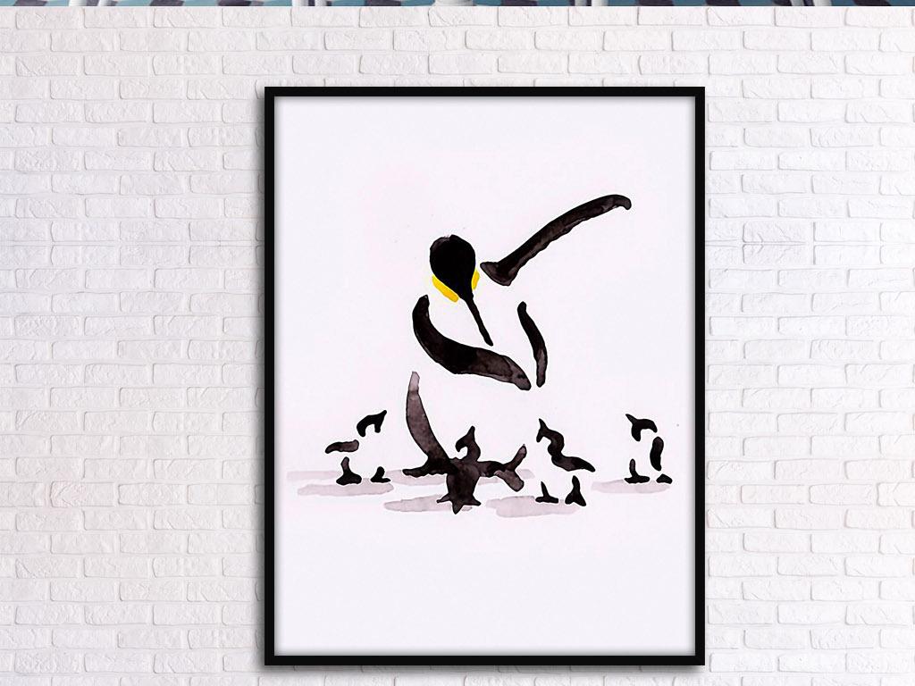 企鹅和小企鹅欧式手绘可爱动物客厅装饰画