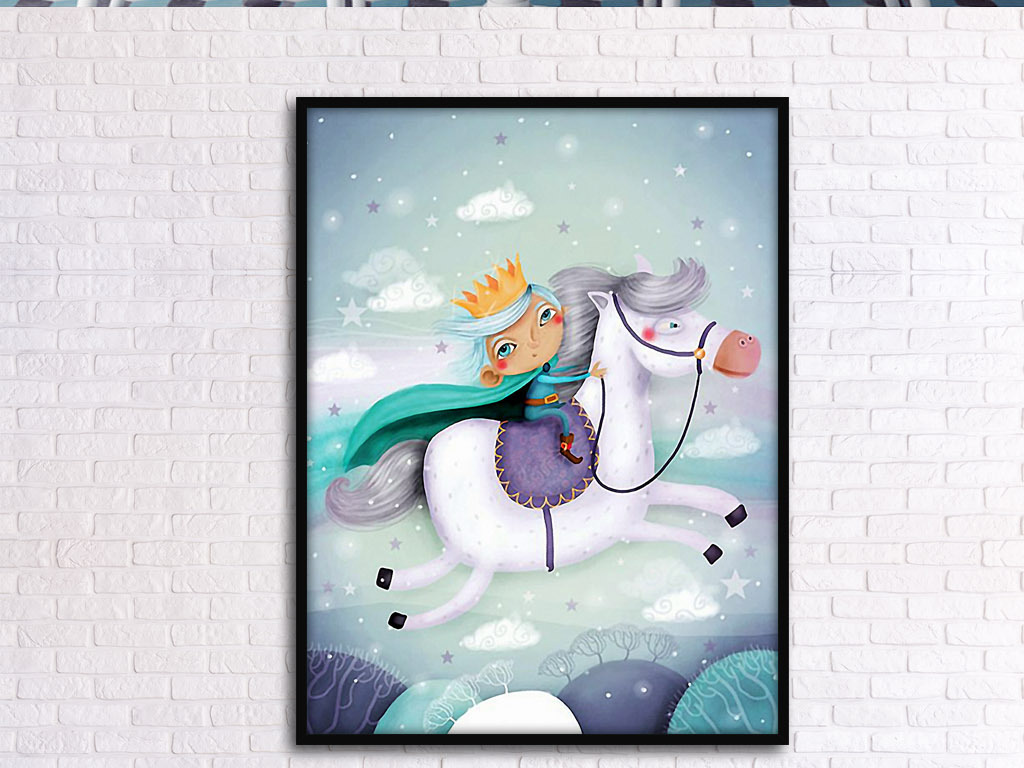 设计作品简介: 骑白马的王子丹麦北欧浪漫童话欧式装饰画 位图, rgb
