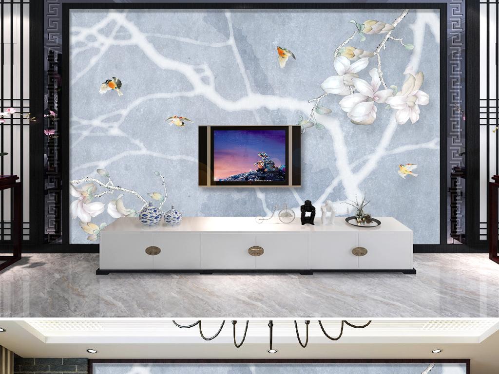 北欧风格抽象树玉兰花电视背景墙