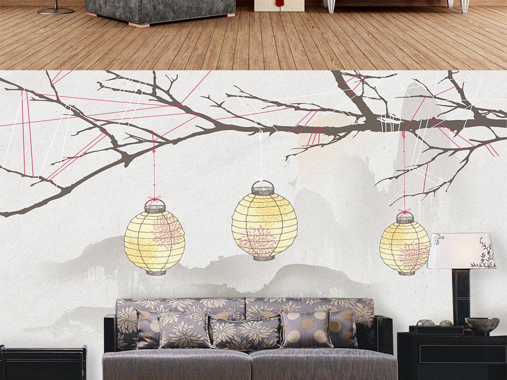 手绘山水灯笼水墨山水中式水墨装饰画树枝中式水墨