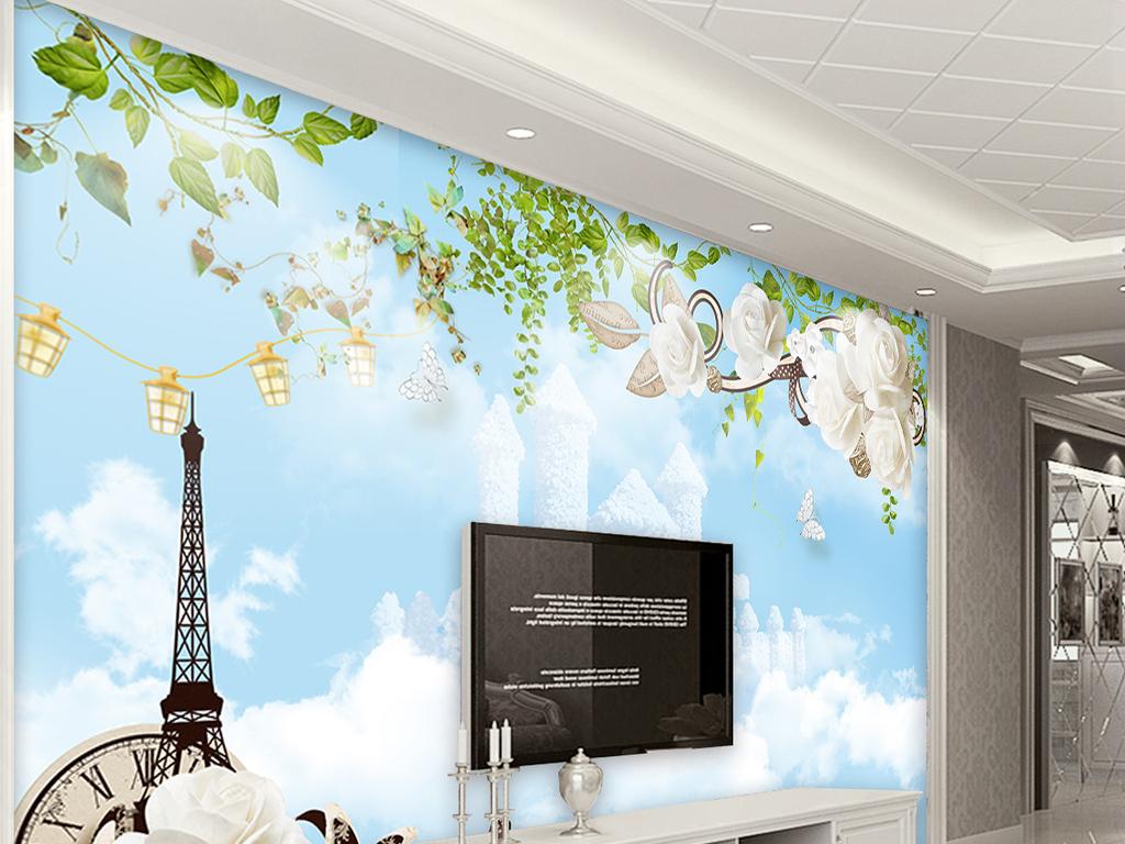 蓝天白云巴黎铁塔绿色清新自然树叶风景背景墙