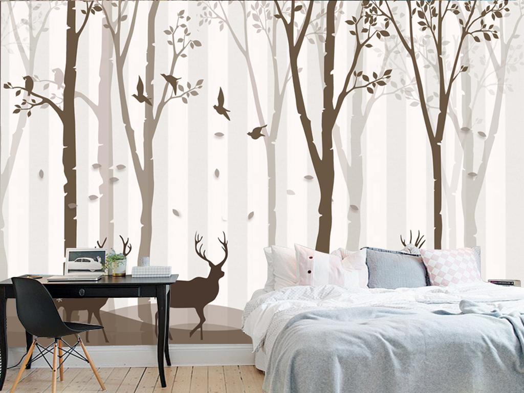 高清简约北欧树林麋鹿背景壁画