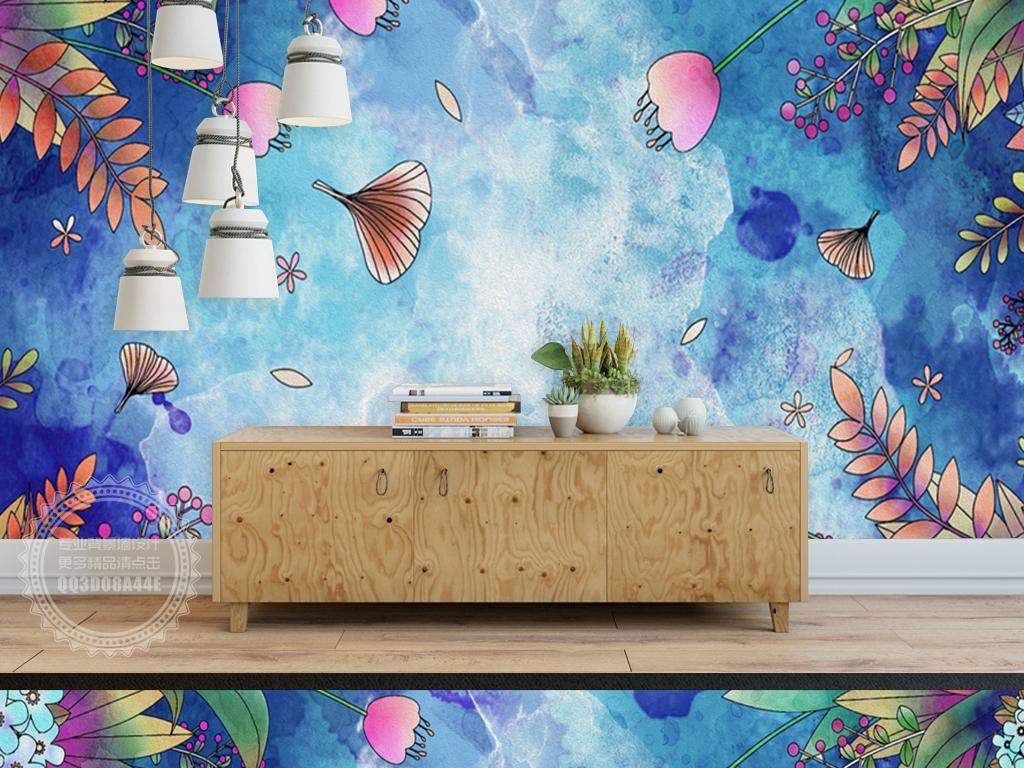 蓝色水彩手绘花朵儿童房背景墙