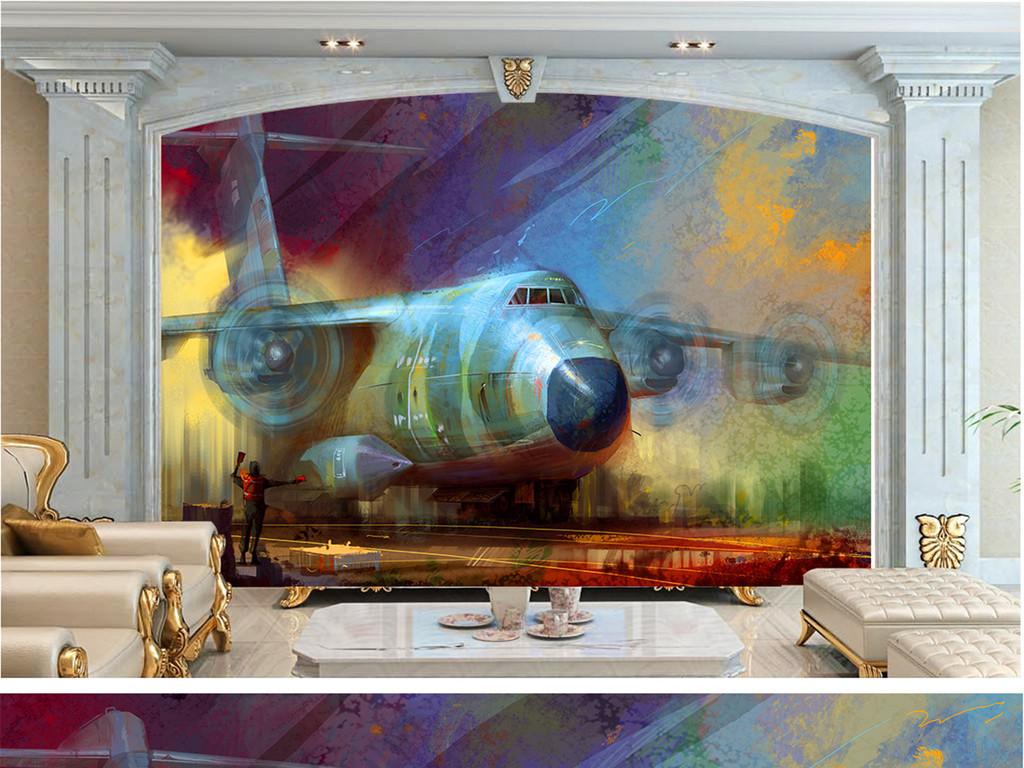 欧式现代美式北欧墙纸壁纸壁画墙画高清背景墙电视