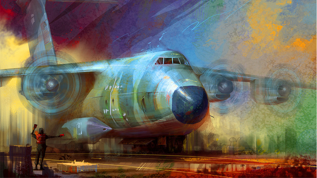 墙画高清背景墙电视背景墙手绘人物油画飞机手绘背景手绘墙手绘背景墙