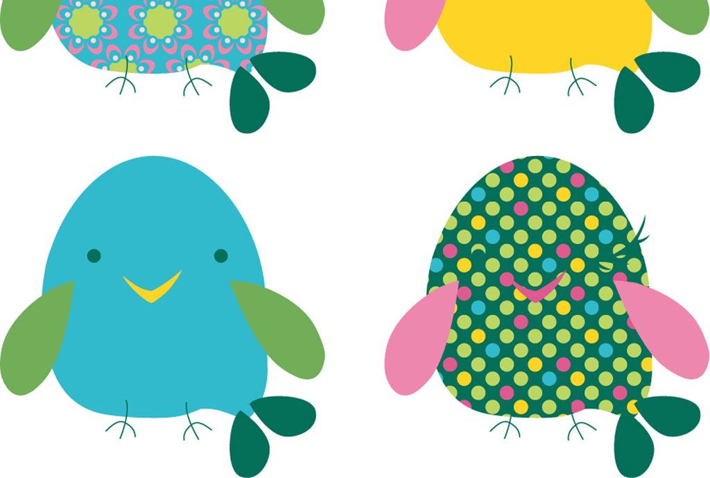 可爱动物卡通图案矢量图小鸟装饰画