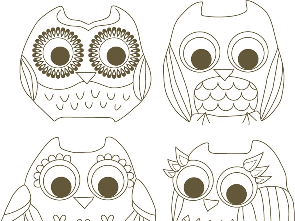 可爱动物卡通图案矢量图猫头鹰简笔画