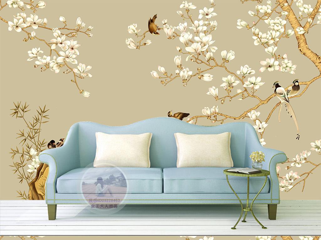 式玄关手绘花鸟工笔中国画背景墙图片
