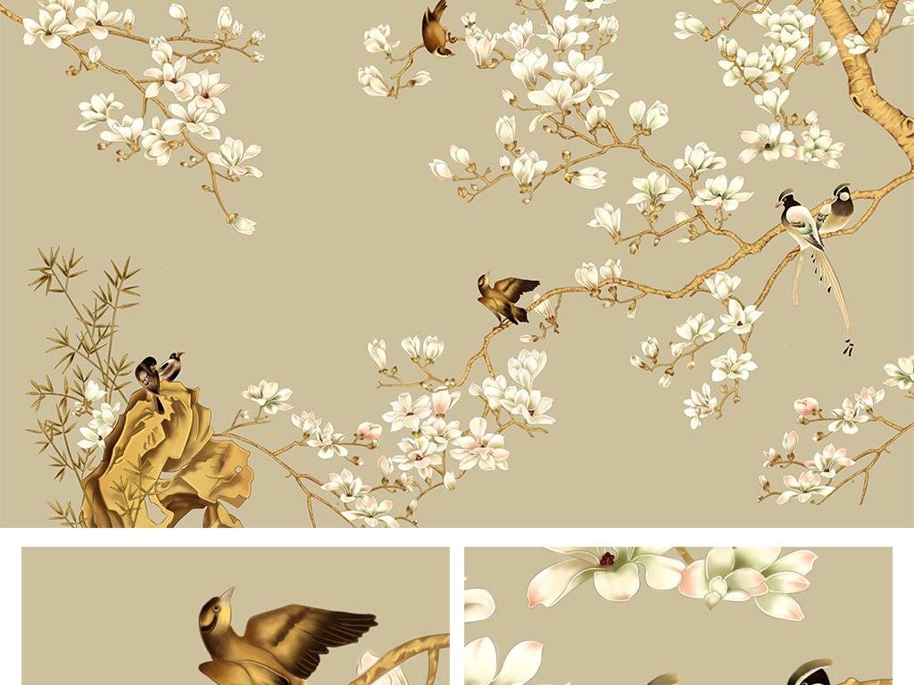 手绘背景墙梅花梅花电视背景墙梅花中式背景墙喜鹊梅