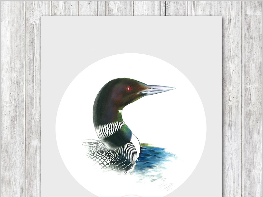 北欧现代简约创意手绘花鸟背景墙装饰画