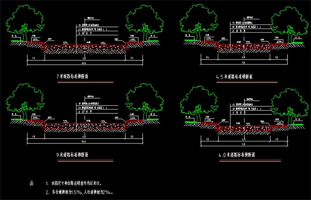 城市道路路面cad结构规划图