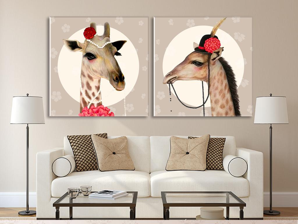 北欧简约手绘动物长颈鹿无框画