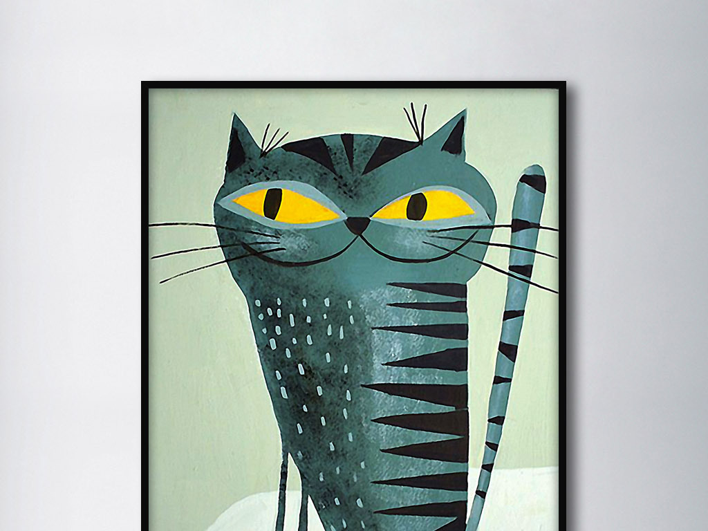 猫先生北欧手绘现代时尚欧式动物室内装饰画