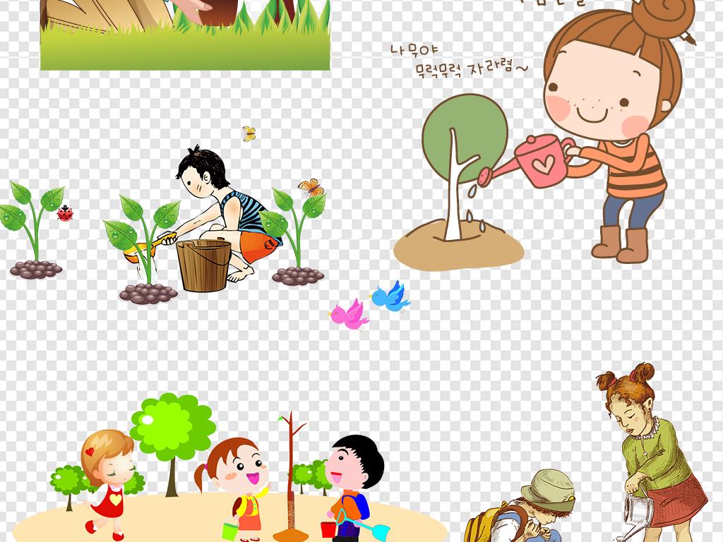 植树节卡通人物环保素材