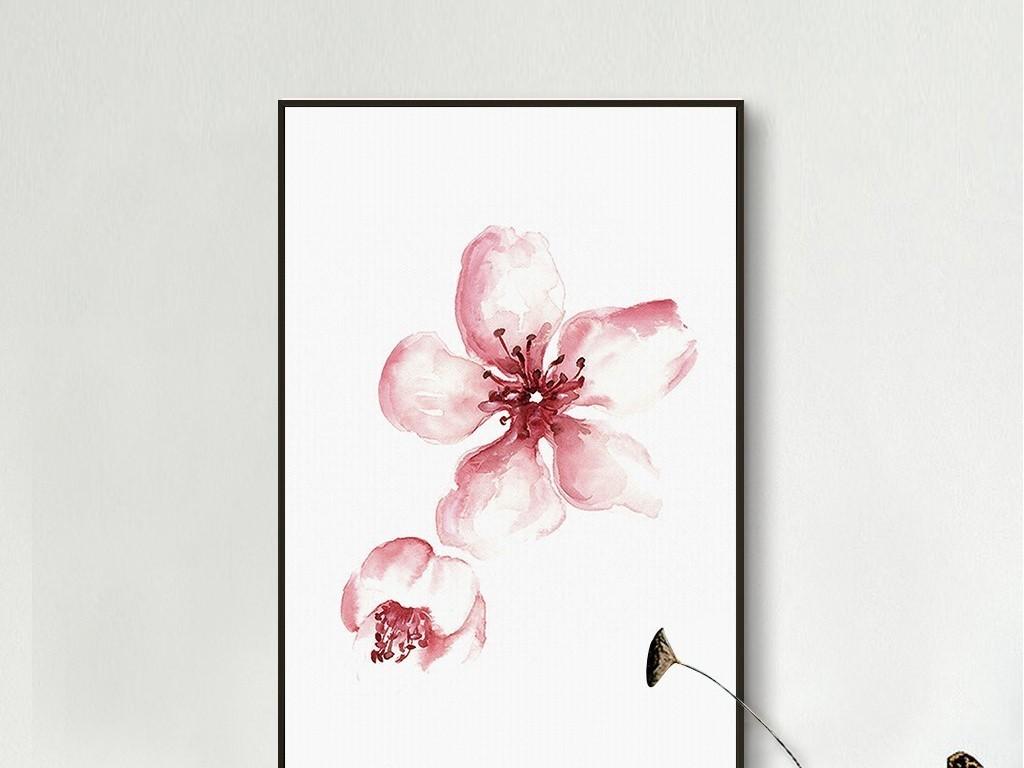 粉色水彩樱花梅花桃花简约无框画