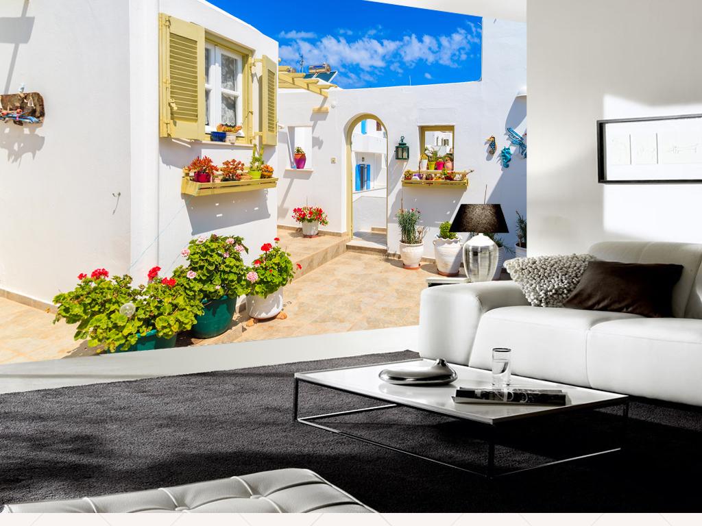 浪漫温馨希腊圣托里尼爱情海壁画电视背景墙