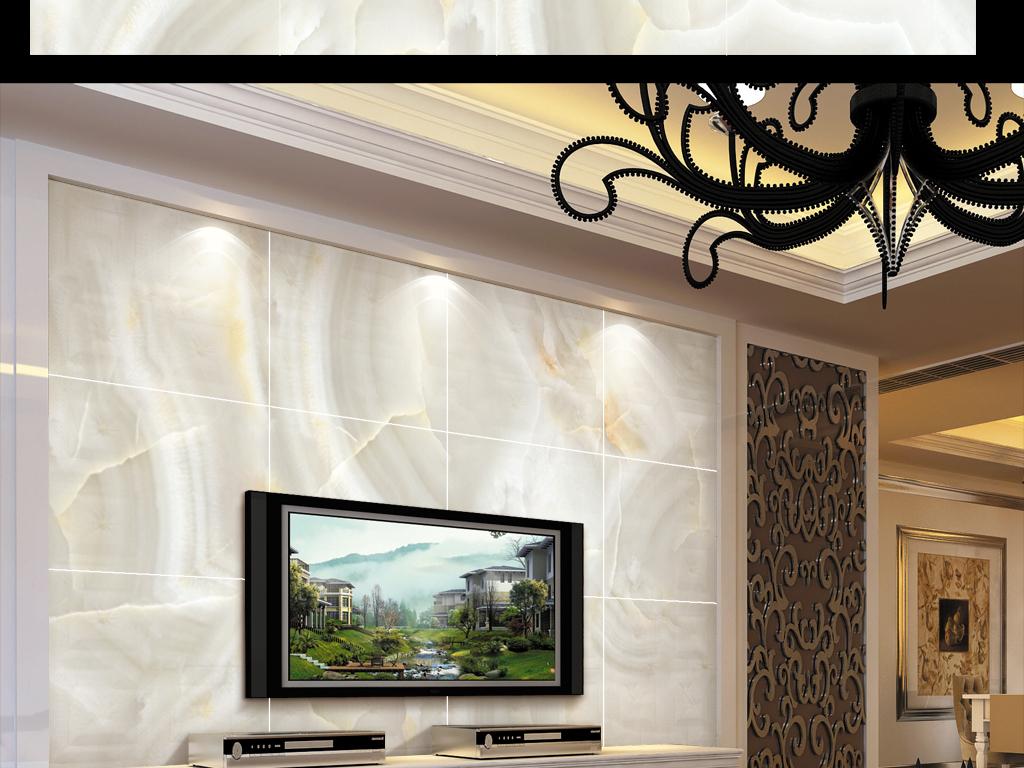 高清欧式简约石材大板背景墙
