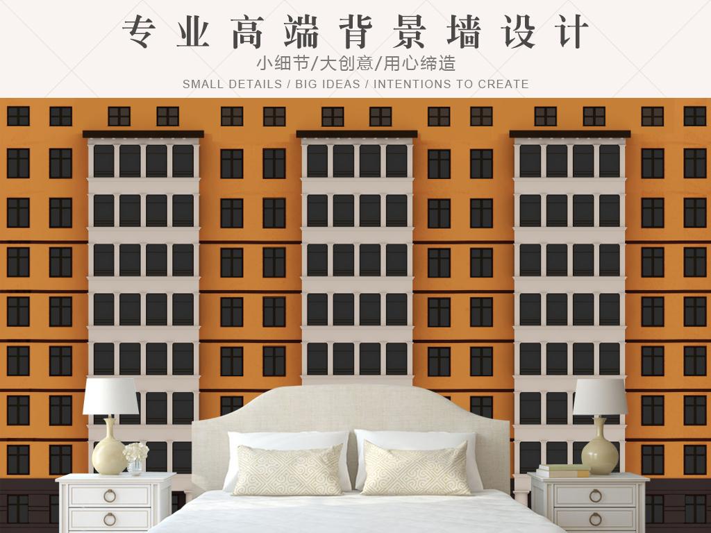 3d立体现代简约楼房高楼壁画背景墙