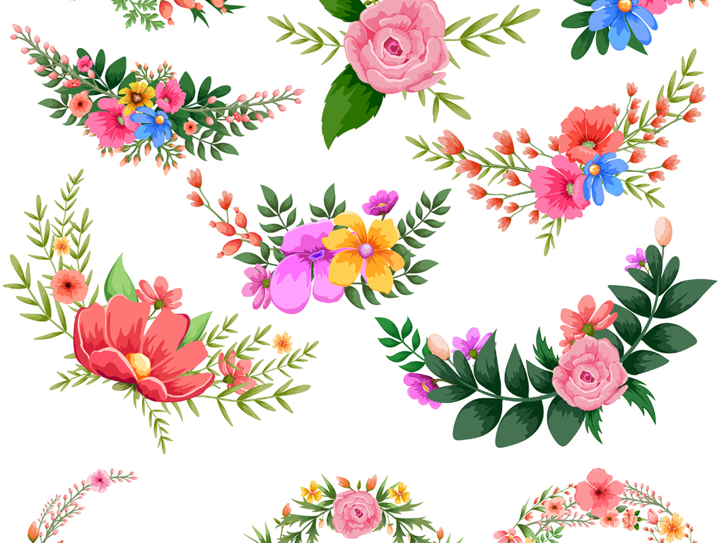 清新手绘花卉花环叶子边框eps矢量素材