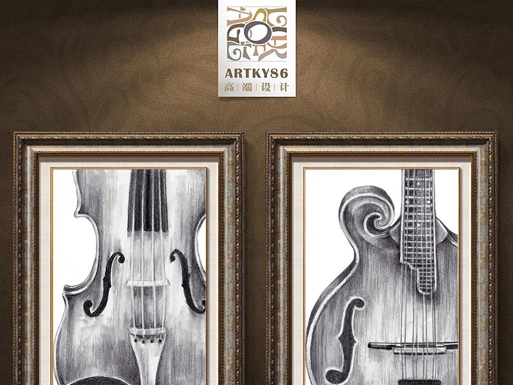 黑白大提琴小提琴琴头乐器装饰画图片