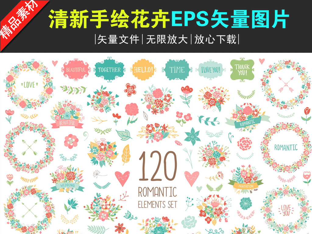 邀请函清新手绘花卉花环eps矢量素材下载
