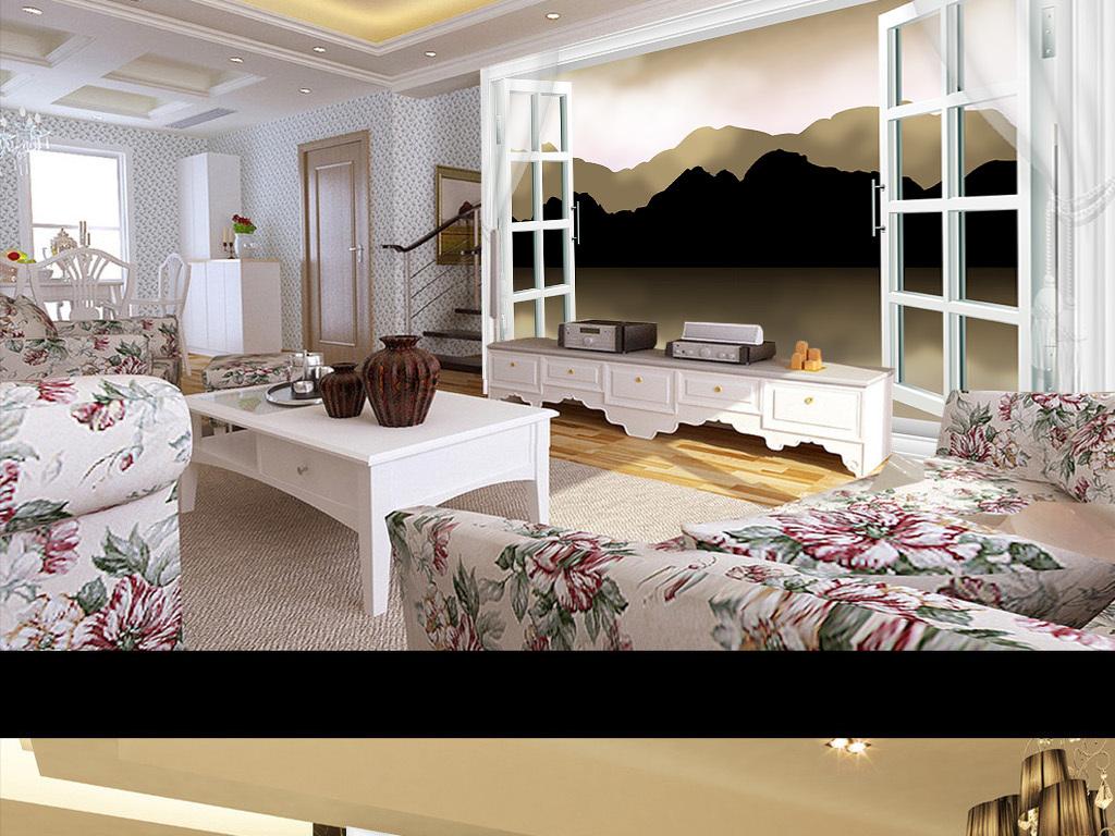 室内装饰图片瓷砖墙画壁纸装饰画树欧式客厅墙风景
