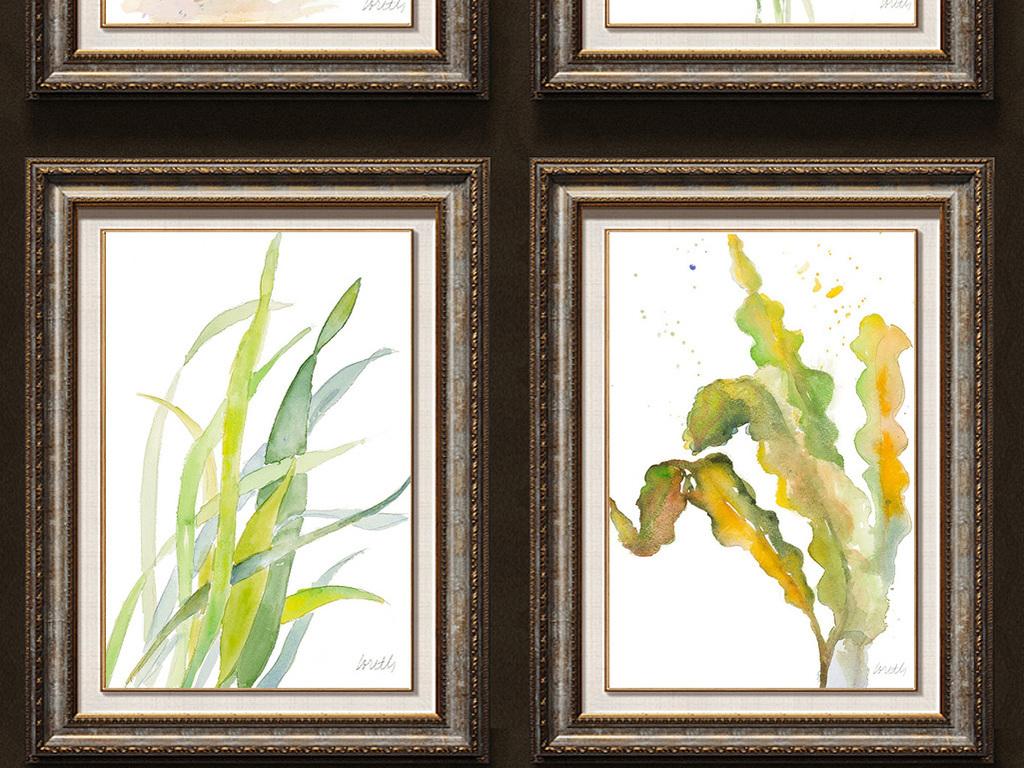 树叶装饰画背景装饰画室内装饰画美式乡村装饰画美式