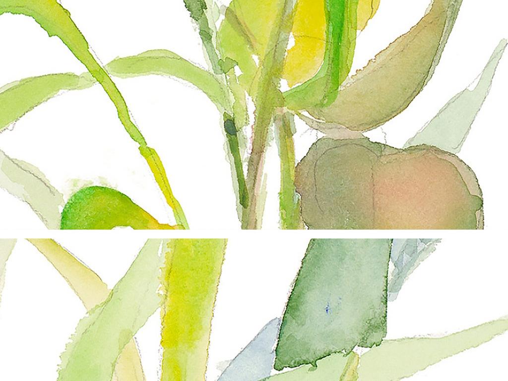 水彩树叶装饰画