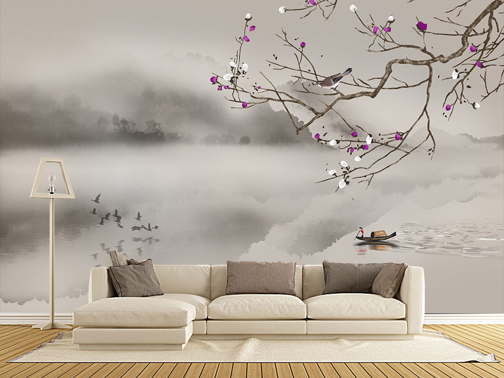 手绘现代中式工笔梅花山水背景墙装饰画