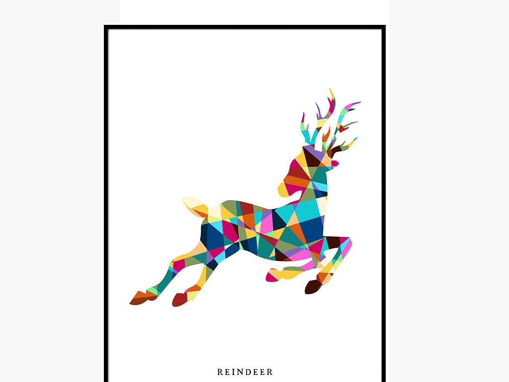背景墙 装饰画 无框画 抽象图案无框画 > 创意几何图形驯鹿无框画图片