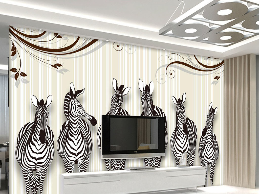 我图网提供精品流行3d立体斑马电视背景墙