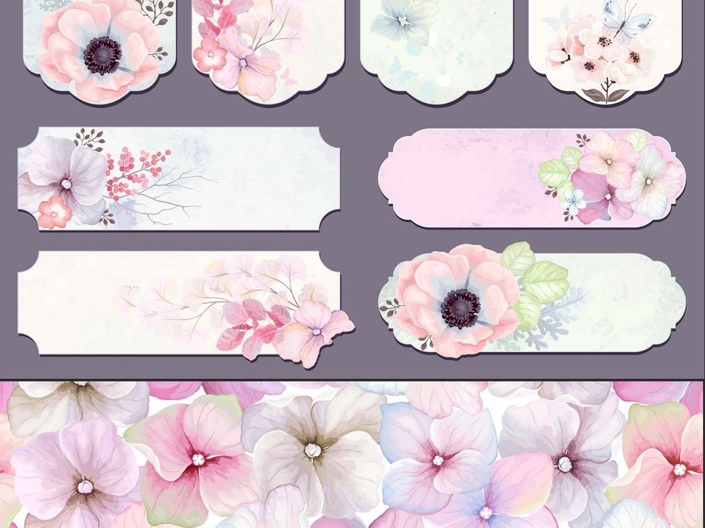 清新手绘花卉小鸟蝴蝶绿叶eps矢量素材