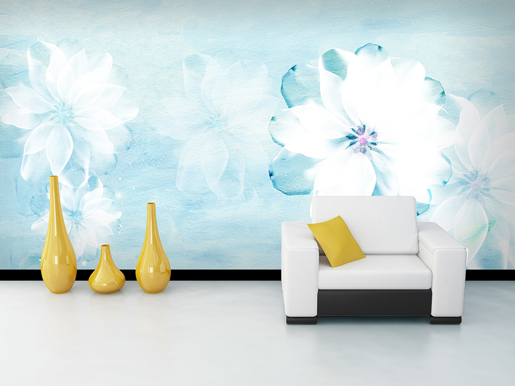 手绘北欧白色唯美花卉背景墙装饰画