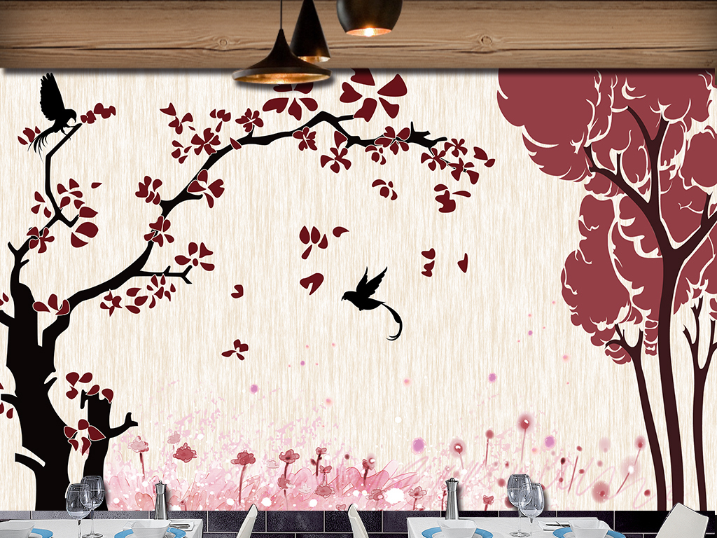 手绘插画花鸟时尚背景墙