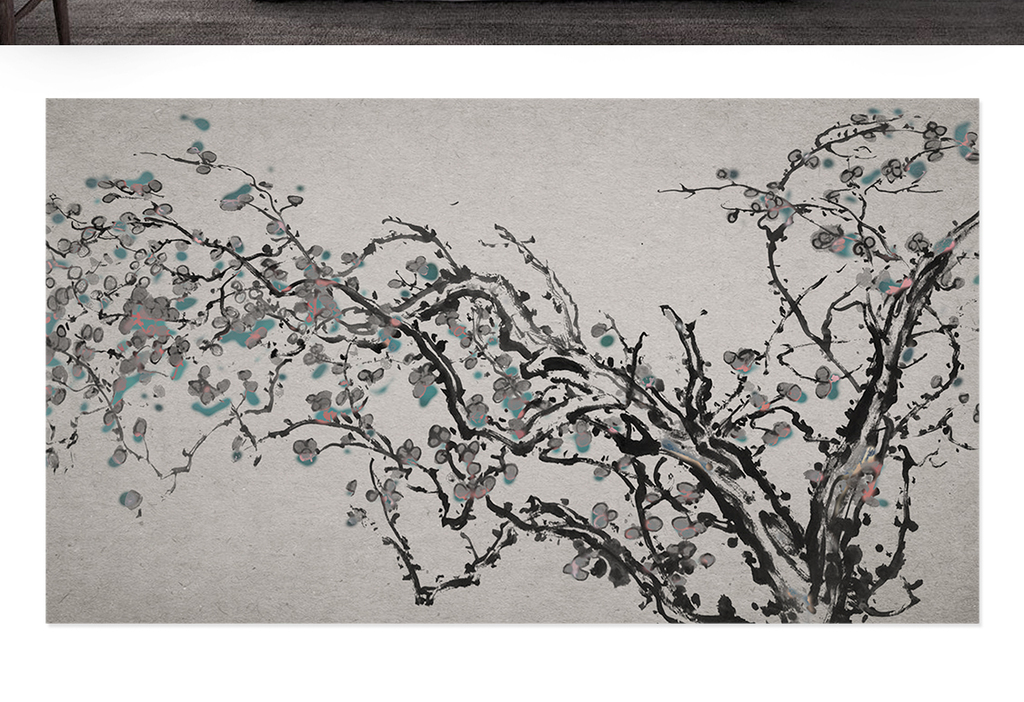 新中式简约手绘梅花北欧电视背景墙(图片编号:)_现代