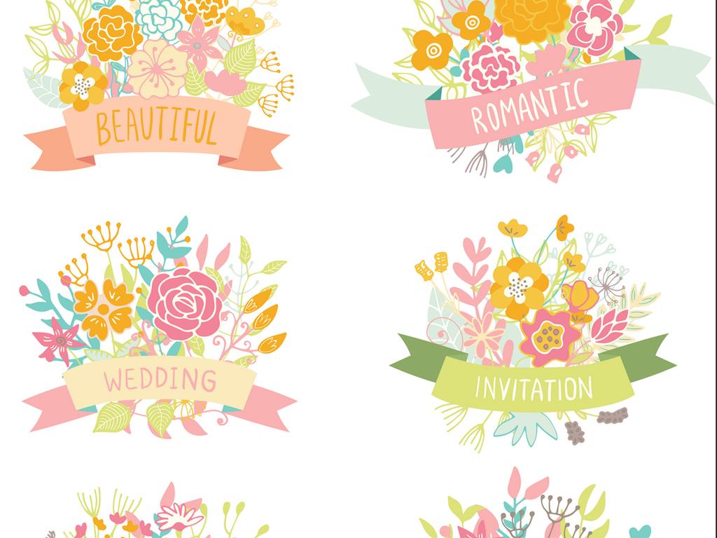 清新手绘花卉花环aieps矢量图片素材