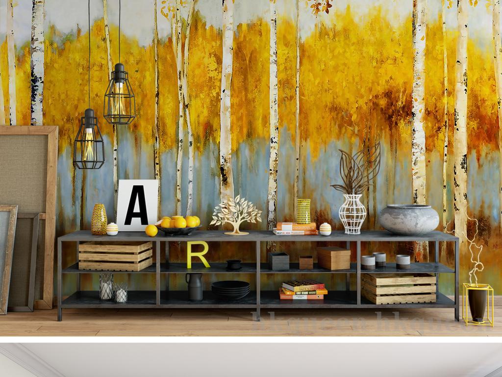 欧式复古怀旧手绘金色树林白桦树油画电视沙发背景墙