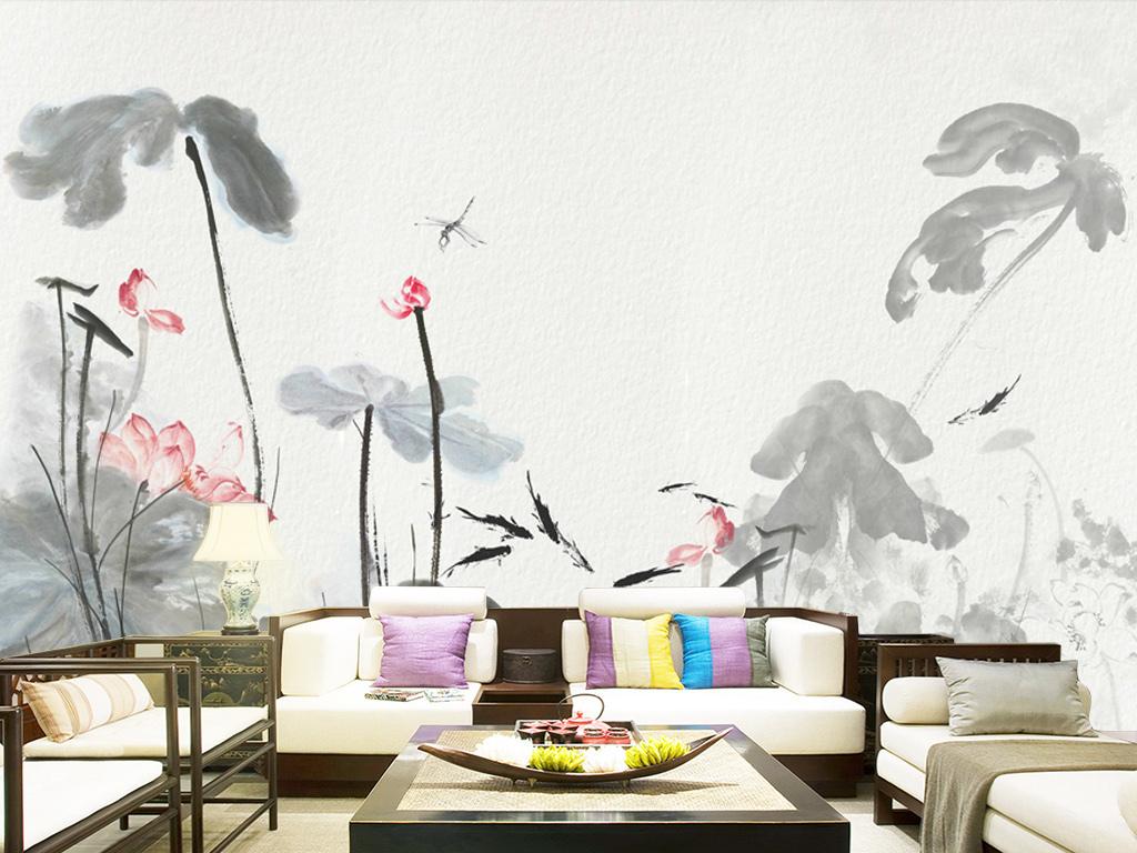电视背景墙 手绘电视背景墙 > 手绘意境现代中式水墨荷花软装背景壁画图片