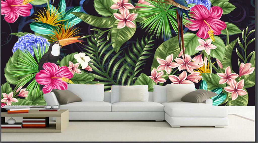 热带植物花鸟装饰画图片手绘热带植物花鸟动物背景墙儿童房壁纸