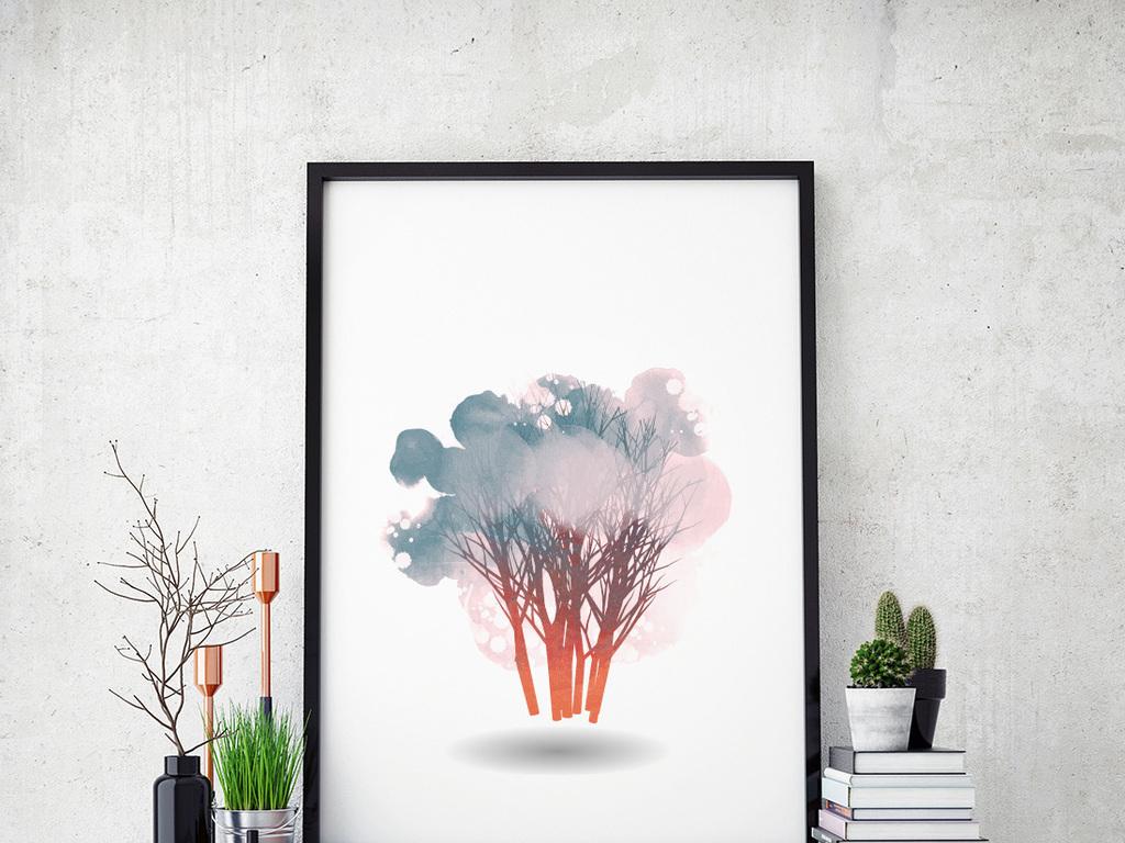 背景墙|装饰画 无框画 植物花卉无框画 > 北欧风格抽象手绘树  版权图片