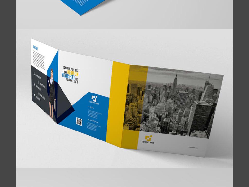 宣传单 折页设计|模板 > 方形商务公司宣传单三折页设计产品宣传册