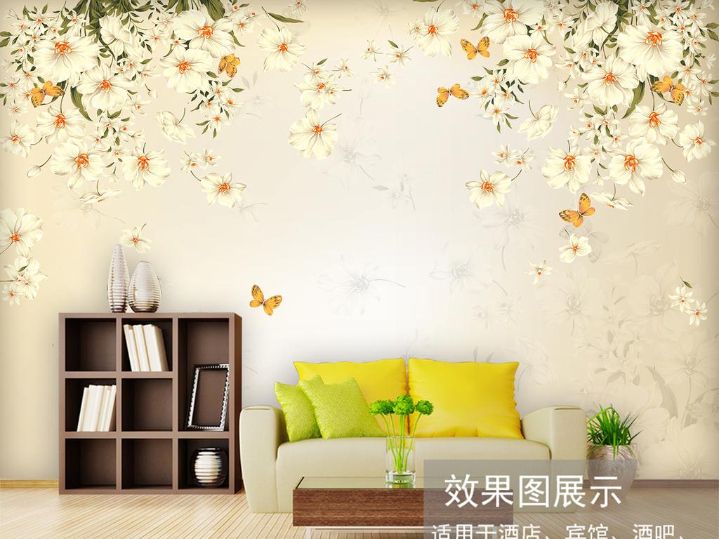 复古手绘美式田园花卉客厅电视背景墙图片