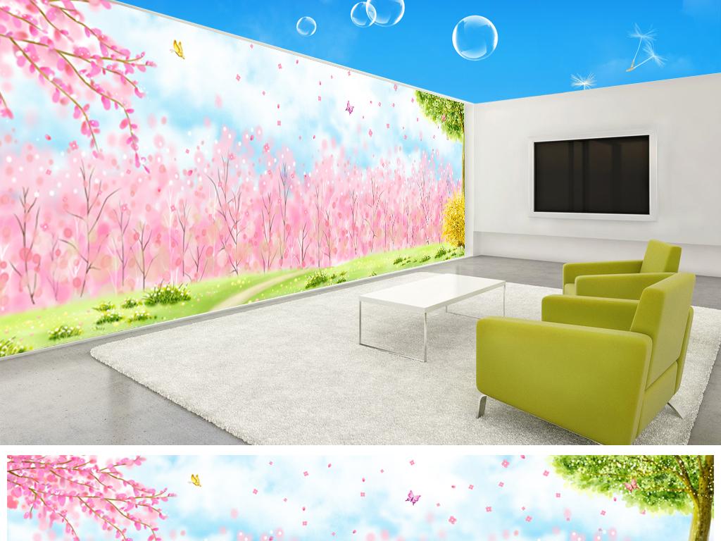 水彩手绘粉色小花浪漫田园风情主题空间全屋背景墙
