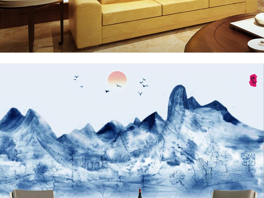 新中式蓝色水墨山水风景国画电视背景墙