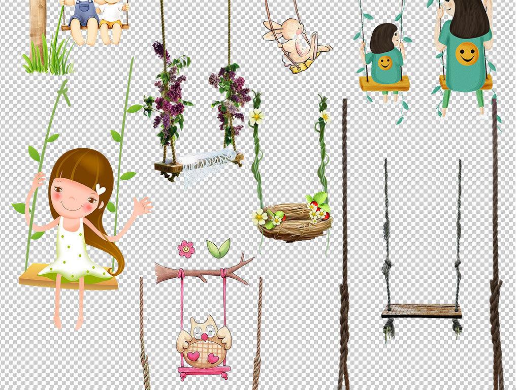 卡通儿童手绘荡秋千设计海报素材图片