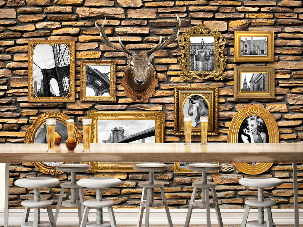 欧式背景墙艺术画文化墙复古怀旧海报照片墙复古背景