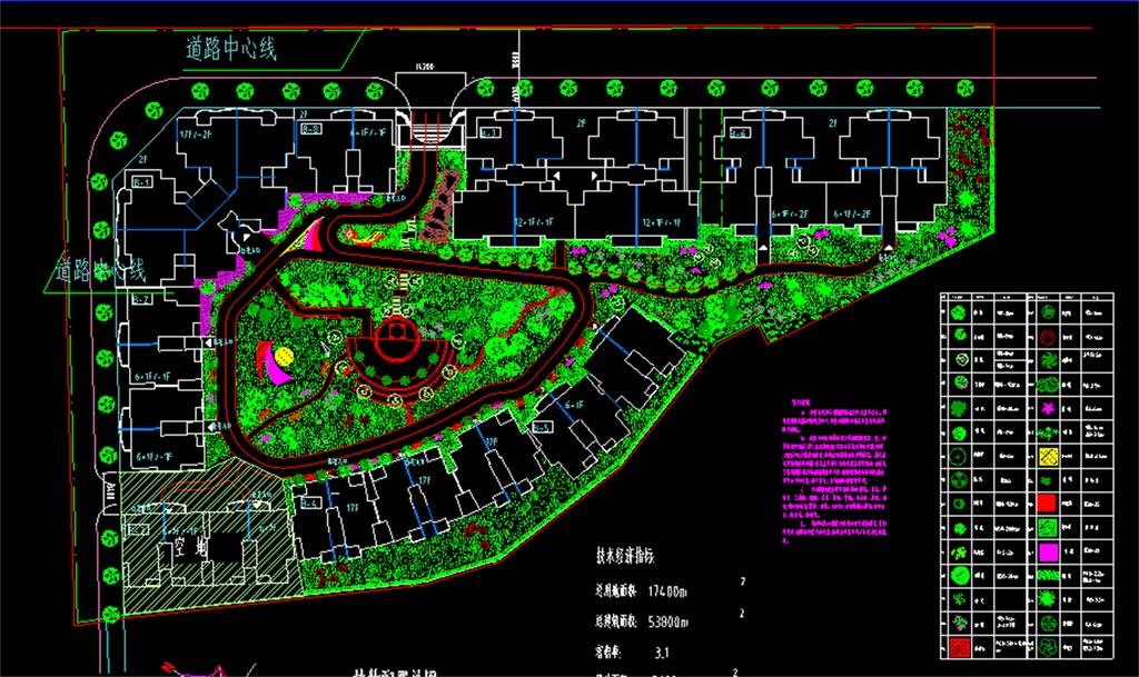 小区绿化景观植物种植平面图