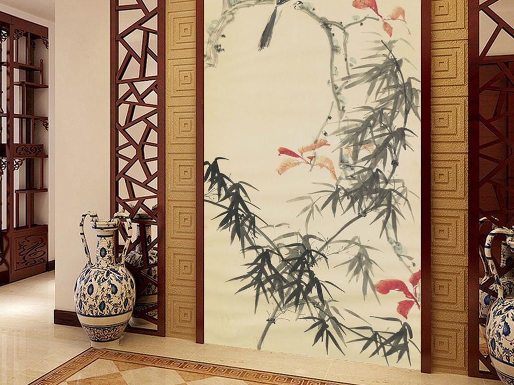 中式手绘花鸟玄关背景