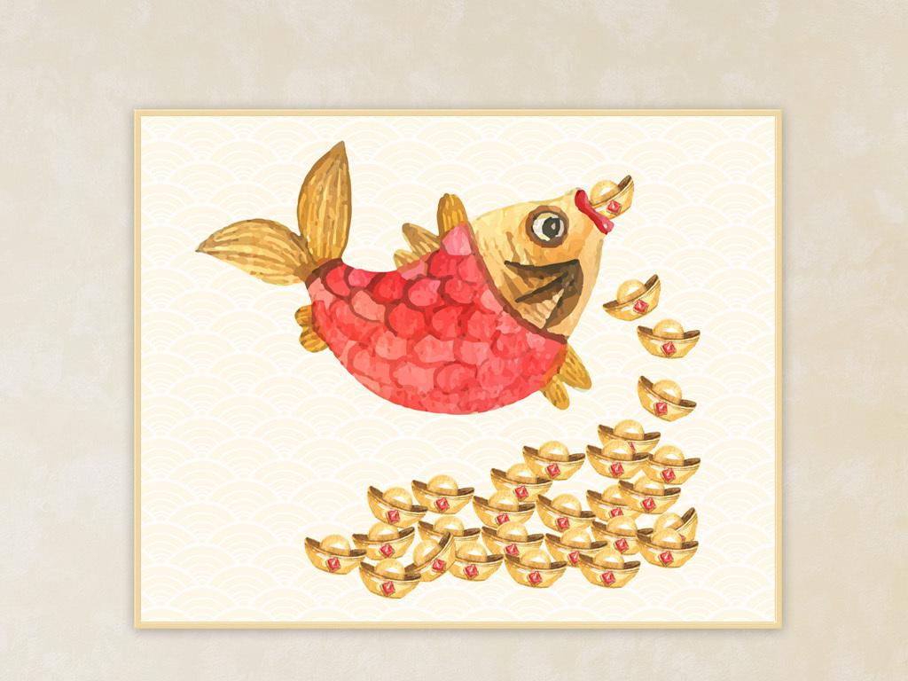 唯美抽象创意现代发财元宝鱼动物装饰挂画